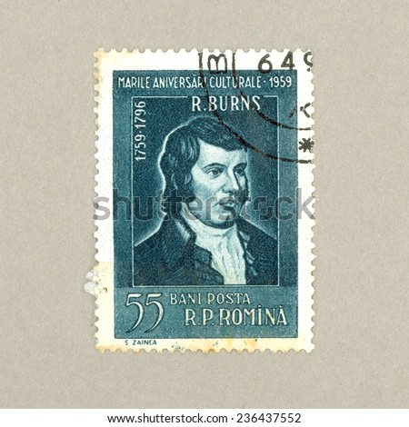 Romania - CIRCA 1959 : A postmarked stamp from Romania shows scottish poet Robert Burns (1759-1796), 200th anniversary, circa 1959