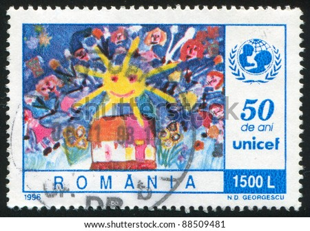 ROMANIA - CIRCA 1996: A stamp printed by Romania, shows Childrenâ??s painting, Children and Sun over House, circa 1996