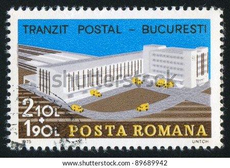 ROMANIA - CIRCA 1975: A stamp printed by Romania, shows transit postal in Bucharest, circa 1975 - stock photo