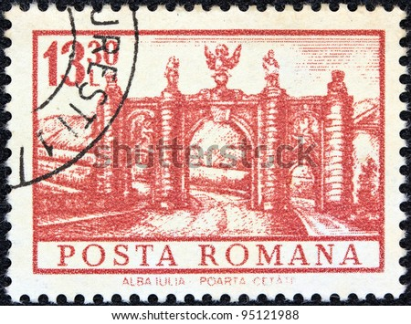 "ROMANIA - CIRCA 1972: A stamp printed in Romania from the ""Definitives I - Buildings"" shows City Gate, Alba Julia, circa 1972."