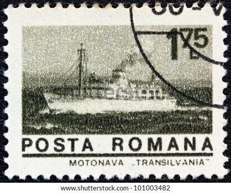 """ROMANIA - CIRCA 1974: A stamp printed in Romania from the """"ships"""" issue shows liner """"Transylvania"""", circa 1974. - stock photo"""