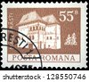 "ROMANIA - CIRCA 1973: A stamp printed in Romania shows Fortress in Maldaresti, with the same inscription, from the series ""Buildings"", circa 1973 - stock photo"