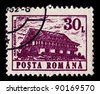 "ROMANIA-CIRCA 1991:A stamp printed in ROMANIA shows image of ""Miorita"" mountain hostel Bucegi, circa 1991. - stock photo"