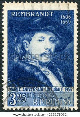 ROMANIA - CIRCA 1956: A stamp printed in Romania shows Rembrandt (1606-1669), Painter, series Great personalities of the world, circa 1956