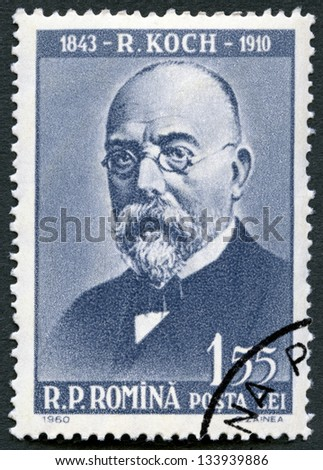 ROMANIA - CIRCA 1960: A stamp printed in Romania shows Robert Koch (1843-1910), circa 1960