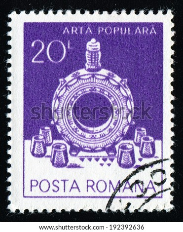 ROMANIA - CIRCA 1982: A stamp printed in the Romania, shows decanter and glasses, from Marginea, circa 1982 - stock photo
