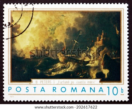 ROMANIA - CIRCA 1971: a stamp printed in the Romania shows Ships in Storm, Painting by B. Peters, circa 1971 - stock photo