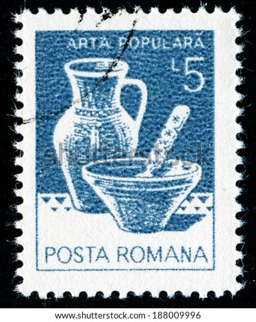 ROMANIA - CIRCA 1982: A stamp printed in the Romania, shows the Bowl, pitcher, from Marginea, circa 1982 - stock photo