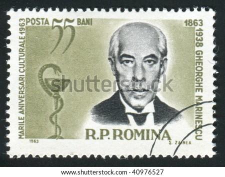 ROMANIA -CIRCA 1963: Gheorghe Marinescu was a Romanian neurologist, founder of the Romanian School of Neurology, circa 1963. - stock photo