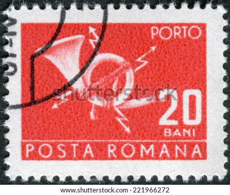 ROMANIA - CIRCA 1967: Postage stamp (stamp dues) printed in Romania shows postal horn with lightning, circa 1967 - stock photo