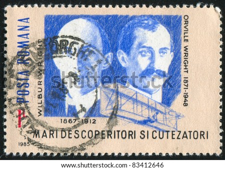 ROMANIA - CIRCA 1985: stamp printed by Romania, show Orville and Wilbur Wright, Wright Flyer, circa 1985.