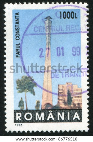 ROMANIA - CIRCA 1998: stamp printed by Romania, shows Lighthouse, Constanta, circa 1998