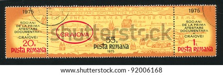 ROMANIA - CIRCA 1975: stamp printed by Romania, shows map showing location of Craiova, circa 1975 - stock photo