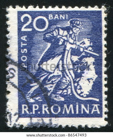 ROMANIA - CIRCA 1960: stamp printed by Romania, shows Miner with drill, circa 1960
