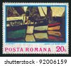 "ROMANIA - CIRCA 1974: stamp printed by Romania, shows picture ""Boats at Monfleur"" by Claude Monet, circa 1974 - stock photo"