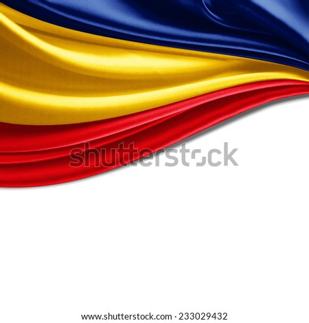 Romania flag and white background - stock photo