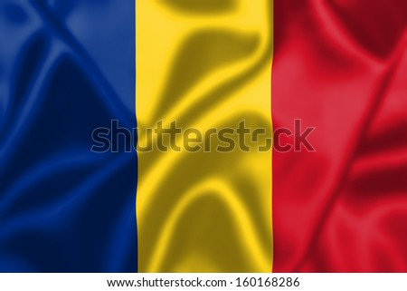Romania flag blowing in the wind. Background texture.