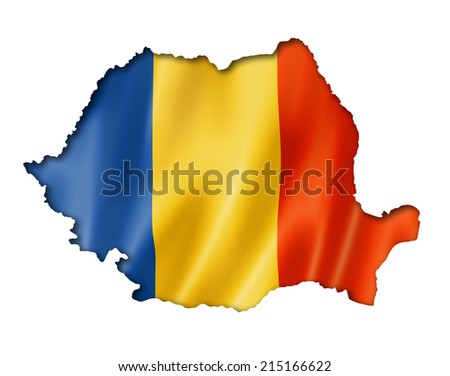 Romania flag map, three dimensional render, isolated on white - stock photo