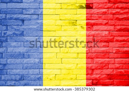 Romania Flag on a brick wall background