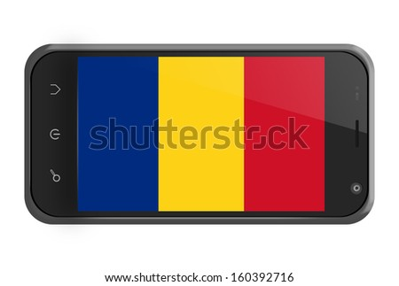 Romania flag on smartphone screen isolated on white - stock photo