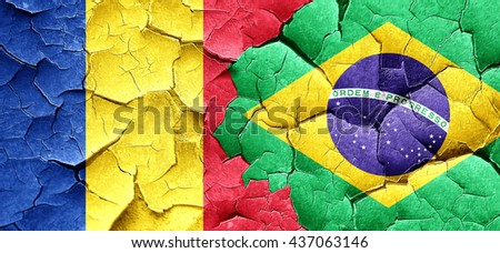 Romania flag with Brazil flag on a grunge cracked wall