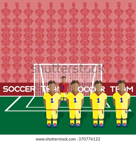 Romania Football Club Soccer Players Silhouettes. Computer game Soccer team players big set. Sports infographic. Football Teams in Flat Style. Goalkeeper Standing in a Goal. Raster illustration. - stock photo
