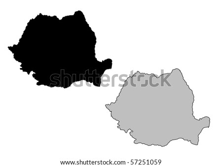 Romania map. Black and white. Mercator projection. - stock photo