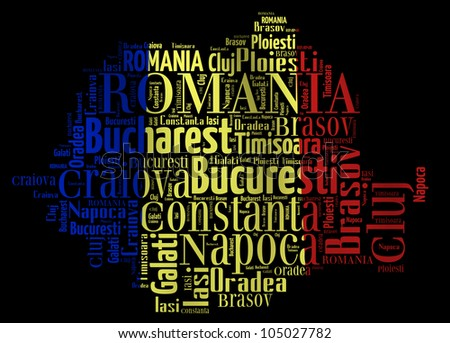 ROMANIA map words cloud of major cities with a black background