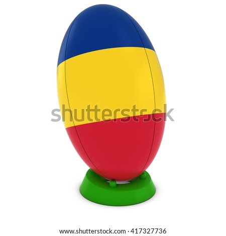 Romania Rugby - Romanian Flag on Standing Rugby Ball - 3D Illustration