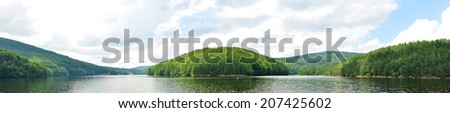 romania valiug village three waters gozna lake landscape panorama - stock photo