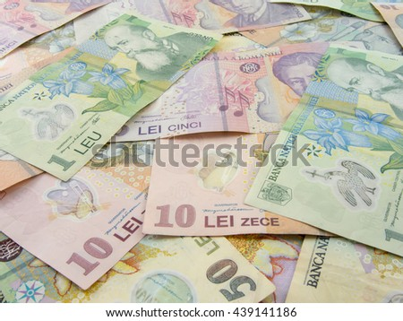 romanian currency lei banknotes spread - stock photo