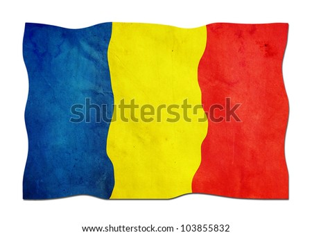 Romanian Flag made of Paper - stock photo