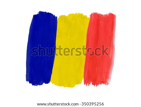 Romanian flag painted with gouache