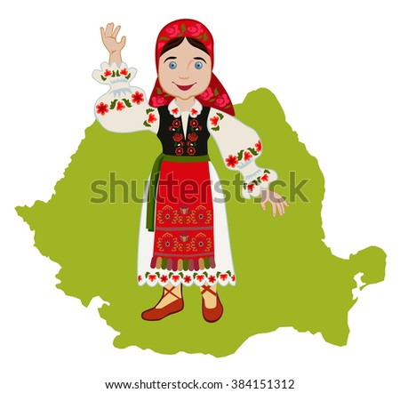 Romanian girl in traditional national dress on a background map - stock photo