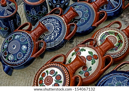 Romanian traditional ceramic in the form of jugs, painted with specific reasons Corund area, Transylvania.