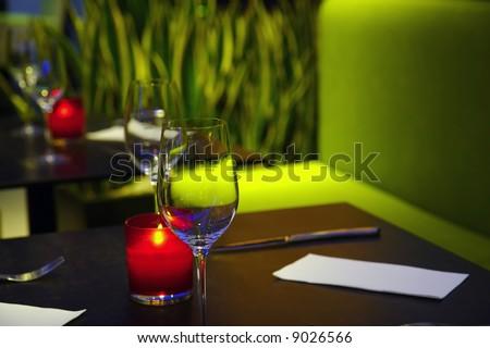 Romantic aura of the cosy restaurant - stock photo