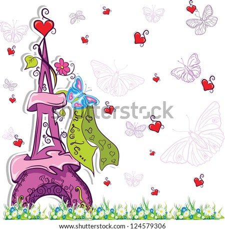 romantic background with colorful eiffel tower,hearts raster copy - stock photo