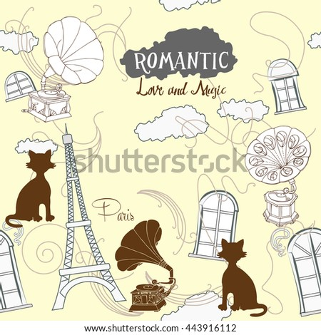 Romantic background with Paris and gramophones. Hand drawn sketches old record players. Music illustration