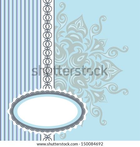 Romantic background with pattern and label. blue - stock photo