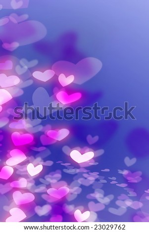 Romantic background with pink, white and purple hearts