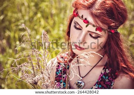 Romantic beautiful girl outdoors in summer, hippie style - stock photo