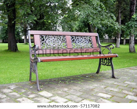 Romantic bench in peacefull park in spring/Bench in Park