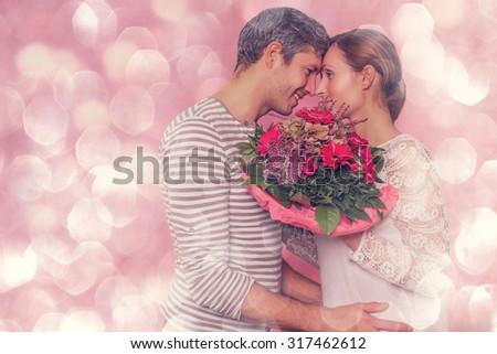 romantic boyfriend kissing embracing girlfriend  - stock photo