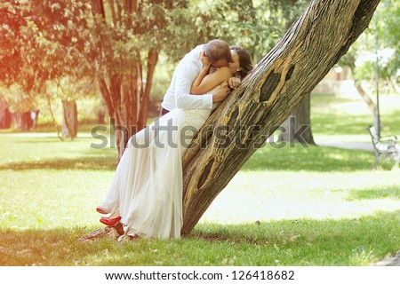 romantic bridal couple - stock photo
