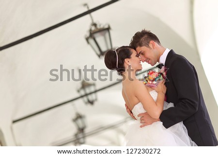 romantic bridal couple - stock photo