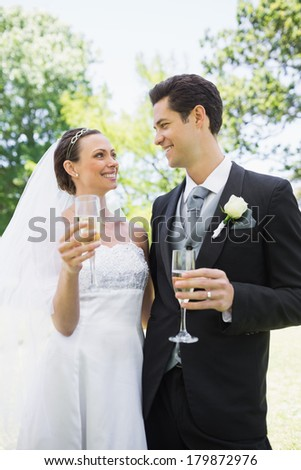 Romantic bride and groom having champagne while looking at each other in park - stock photo