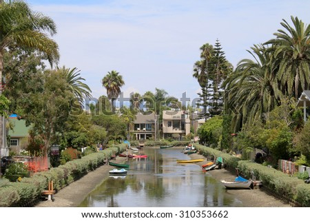 Romantic canal in Venice, California, United States