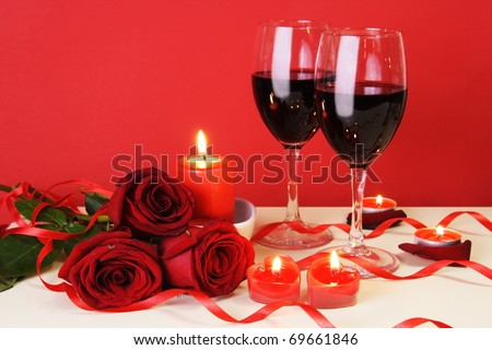 Romantic Candlelight Dinner for Two Lovers Concept Horizontal - stock photo