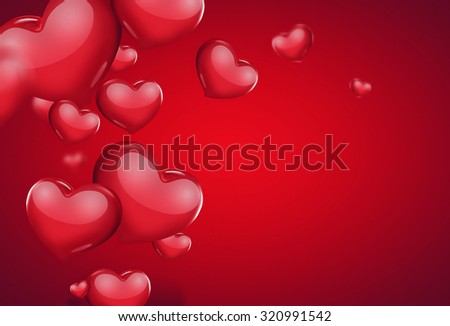 romantic card with red hearts - stock photo