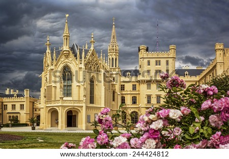 Romantic chateau Lednice, Czech Republic - stock photo